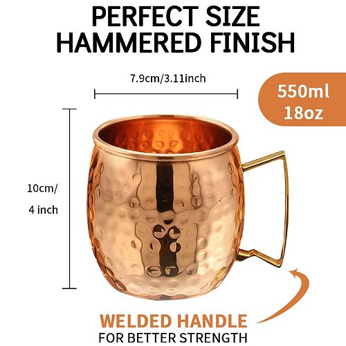 550ml 1/4 Pcs 18 Ounces Hammered Copper Plated Moscow Mule Mug Beer Cup Coffee Cup Mug Copper Plated canecas mugs travel mug