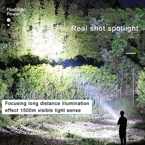 ABS Strong Light Flashlight USB Rechargeable Outdoor Flashlight IPX6 Waterproof Portable Household Flashlight