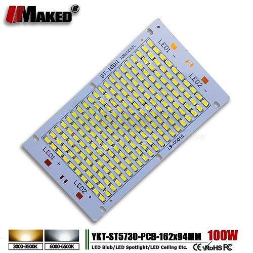 10pcs LED pcb 100W 162*94 11000lm Aluminum Heatsink with SMD5730 Light Source floodlight pcb plate for outdoor Street light DIY
