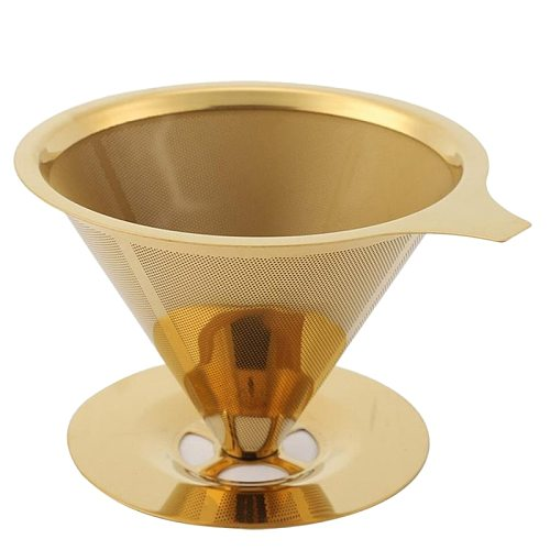 Double Wall Stainless Steel Titanium Gold Pour over Coffee Dripper Filter with Cup Stand and Handle