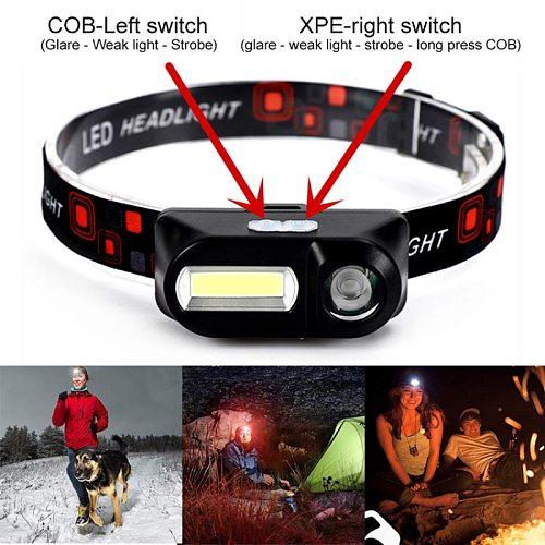 Portable Headlamp Flashlight With Usb Charging XPE+COB Head Light Torch Headlamp For Camping Headlight Outdoor Lighting TXTB1
