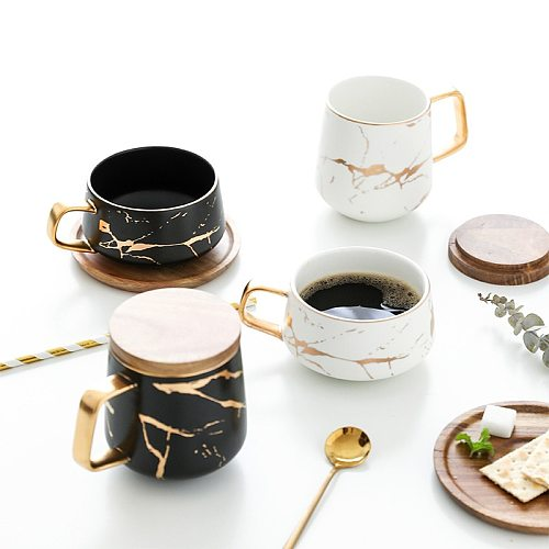 Nordic Marble Coffee Mugs Matte Luxury Water Cafe Tea Milk Cups Condensed Coffee Ceramic Cup Saucer Suit with Dish Spoon Set Ins