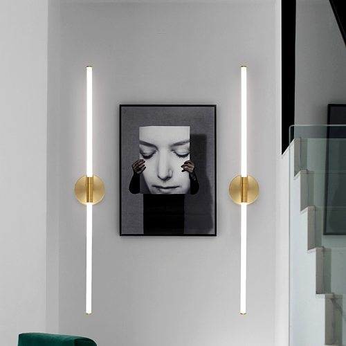 LODOOO Gold Modern LED brief bedroom study wall lights simple bedside lamp Acrylic light pipe Living room wall lamps