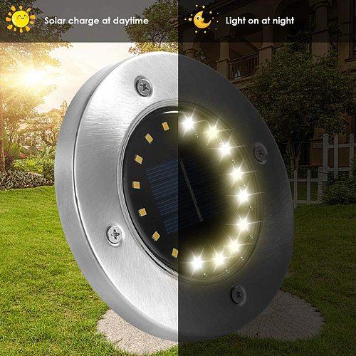 8Pack Solar Garden Lights 12/16/20LEDs Solar Ground Light Waterproof Light Underground Sensing Landscape Light for Lawn Driveway