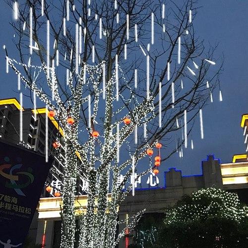 30cm/50cm LED solar Meteor Shower Garland Holiday Strip Lamp Outdoor Waterproof Light For Garden Street Christmas Decoration