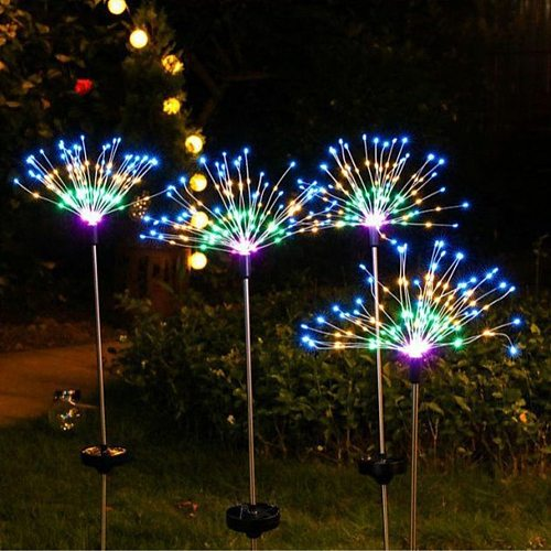 90/120 LED Solar Firework Ground Light 2 Modes Underground Garden Landscape Decorative Lamp  for Yard Deck Patio Pathway