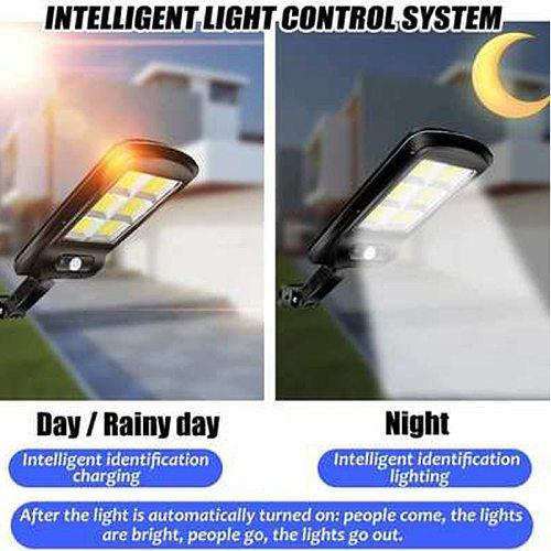 160 COB Waterproof Solar LED Street Light PIR Motion Sensor Smart Remote Control Lamp 1200W Garden Outdoor Security Wall Light