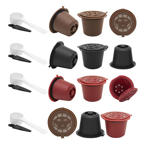 1/3PCS Coffee Capsule Refillable Reusable Herbruikbare Hervulbare Nespresso Machine Capsule Plastic Filter Cups Spoon Brush