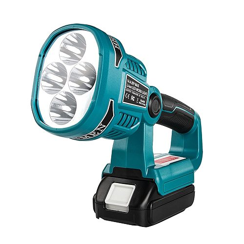 WAKYME 4 Modes Work Light 18/14.4V Cordless LED Flashlight with USB Outdoors Spotlight Light for Makita DML812 Without Battery