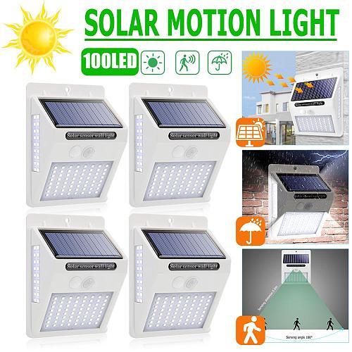 New White Shell 100LED Three-sided Solar Motion Sensor Wall Light Outdoor Waterproof Yard Street Lamp Decorative Lighting