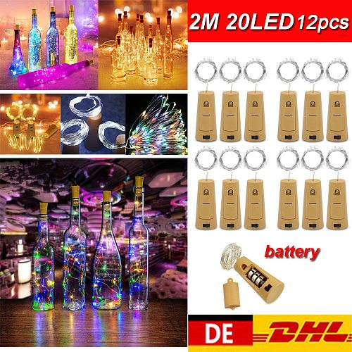 12pcs 2M 20LED String Light Cork Wine Bottle Light LED Lights Decoration For Bedroom Christmas Birthday Party Fairy String Lamp