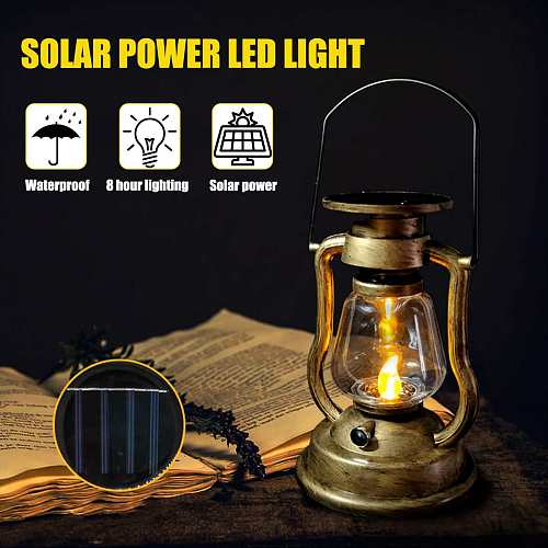 Vintage Style Portable Outdoor Garden lamp Solar Powered LED Light Hanging Lantern Flameless Candle Lamp Nightlight Home Decor