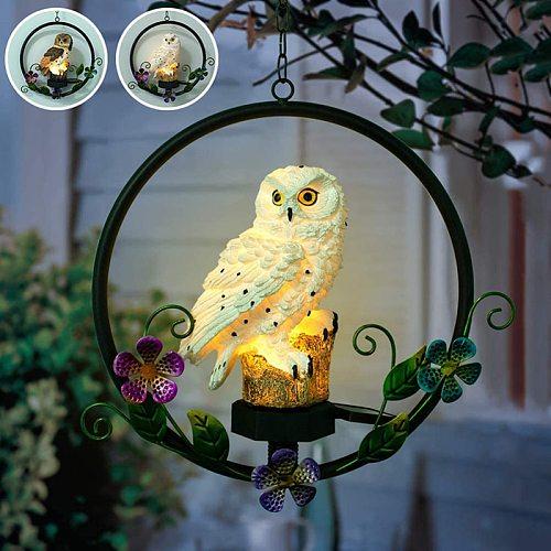 LED Waterproof Solar Owl Shape Night Light Hook Suspension Hanging Garden Owl Lamp For Courtyard Garden Decoration Solar Lamps