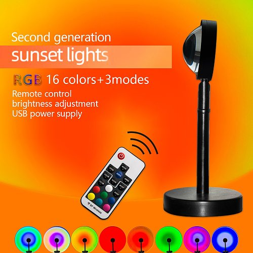 NEW Remote Control RGB Sunset Projection Lamp Rainbow Atmosphere Led Light For Home Bedroom Shop Background Wall Decoration