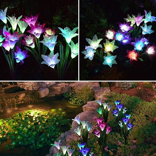 3pcs/lot Solar Powered Lights with 12 Lily Flower RGB LED Outdoor Solar Landscape Lighting Light for Garden Mother's Day
