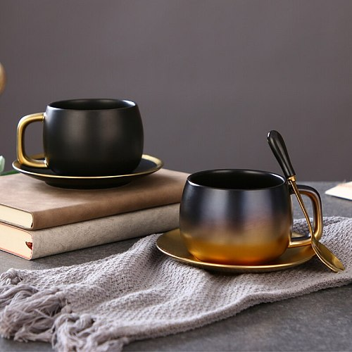 Luxury Black Gold Ceramic Coffee Cup Espresso Coffee Tea Breakfast Milk Cup And Saucer Set With Spoon And Saucer Gift Box Set