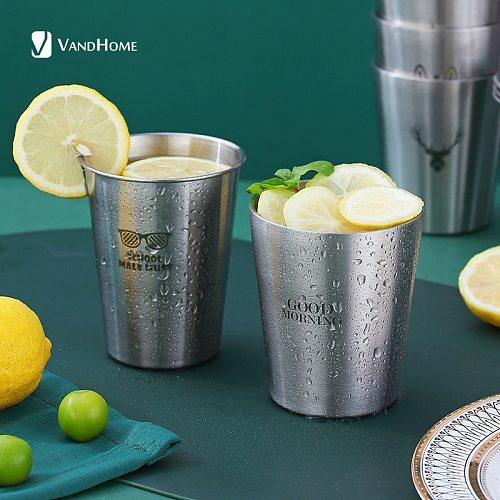 VandHome 304 Stainless Steel Beer Mug Reusable Coffee Cup Creative Drinking Mug With Double Wall Tea Mug Children Milk Juice Cup