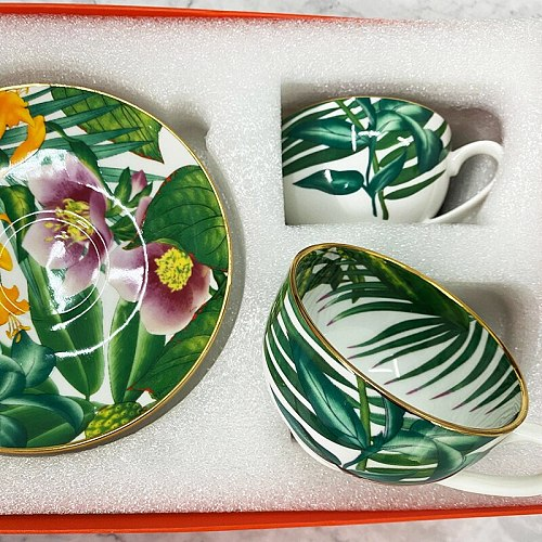 Elegant  bone china cup multi-style simple ceramic coffee cup and saucer dish with pattern set  2 set with box