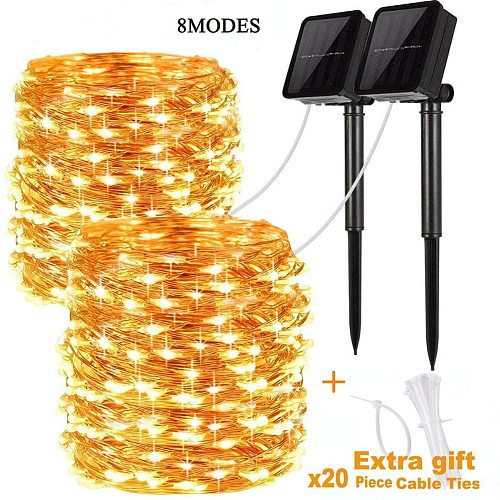 Solar Powered String Lights Outdoor Fairy Lights String Home Patio Garden Gate Yard Party Wedding Decoration Lamp