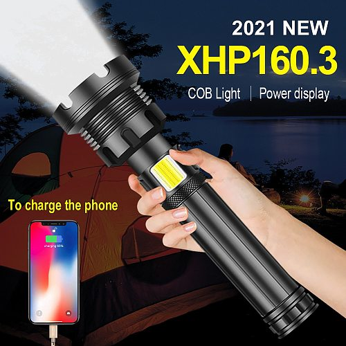 800000 LM XHP160.3 COB LED Flashlight Torch Most Powerful USB Rechargeable Flash Light Tactical Hunting Portable XHP70.2 Lantern