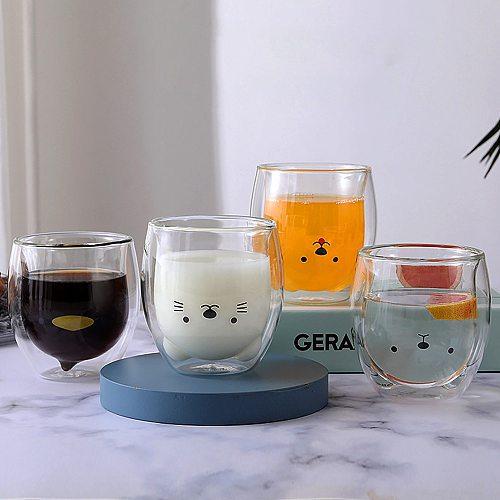 250ML Creative INS Coffee Mug Double Wall Milk Cup Cute Glass Kawaii Juice Vaso Gato Oso Taza Doble Cristal Valentine's Day Gift