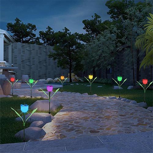 Solar Light Outdoors LED Tulip Flower Lamp Multi-Color Waterproof Garden Yard Path Lawn Lighting