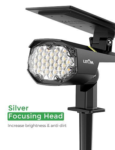 Upgraded LITOM 30 LED Solar Landscape Lights IP67 Waterproof Landscape Lamp Cold&Warm Motion Sensor Adjustable Solar Spotlights