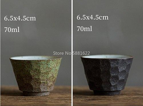 Japanese Coarse Pottery Tea Cup Green And Black Color Handmade Ceramic Kung Fu Tea Cups Small Tea Bowl Retro Home Decor