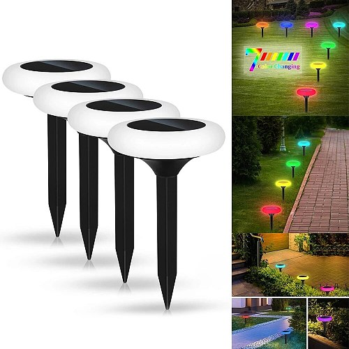 Solar Light LED Colorful Inserted Ground Lamp Outdoor Decoration Waterproof Garden Courtyard Path Solar Round Square Plum Lamp