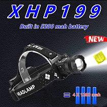 LED Headlamp Powerful XHP199 Fishing Head Lamp led Headlight 18650 Usb Rechargeable Head Torch Flash Light XHP90 Outdoor Lantern