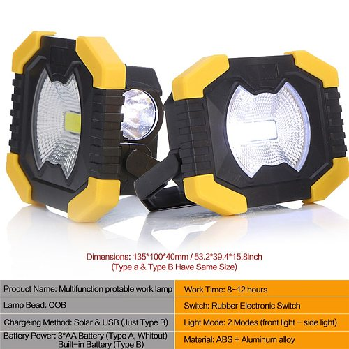 LED Portable Work Lights 100W 180 Degrees Adjustable Lanterns Built-in Battery Spotlight Rechargeable Outdoor Camping Lamp Torch