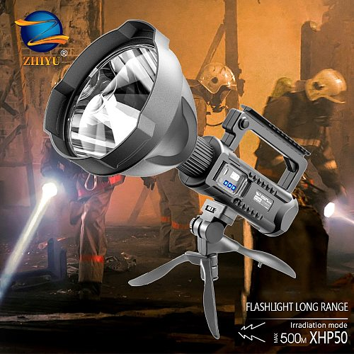 ZHIYU Strong Light Searchlight,outdoor Multi-function Lighting LED Flashlight,long-range Waterproof Rechargeable Portable Lamp