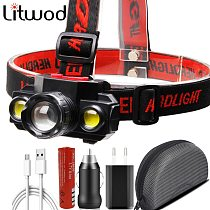 XP-E Q5 & COB Led Headlamp Use Rechargeable 18650 Battery Headlight Zoomable Lamp Torch Light for Camping Litwod