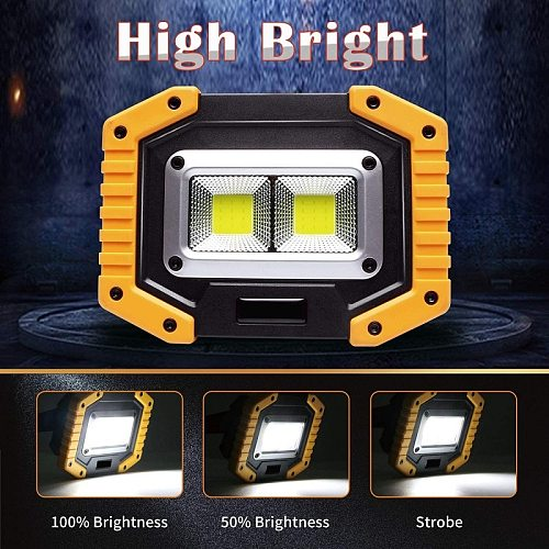 100W 70000lm Led Portable Spotlight COB Super Bright Led Work Light Flood Lights Rechargeable for Outdoor Lampe 18650 Emergency