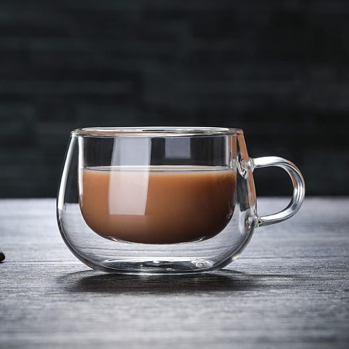 Double Wall Glass Cup Heat Resistant Tea Coffee Mug With Handle Portable Transparent Beer Mug Whiskey Glass Cup 150ml