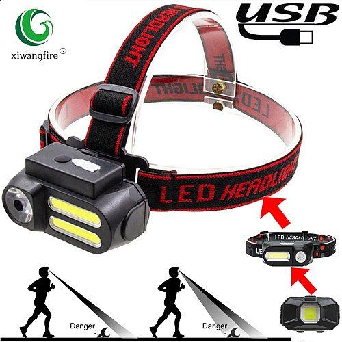 Portable Mini XPE+COB LED Headlamp USB Rechargeable Camping Head Lamp Fishing Headlight Flashlight Headlamp Torches Headband