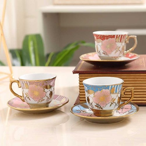 Coffee cup and saucer set ceramic creative European coffee cup pure white simple coffee cup plating cup
