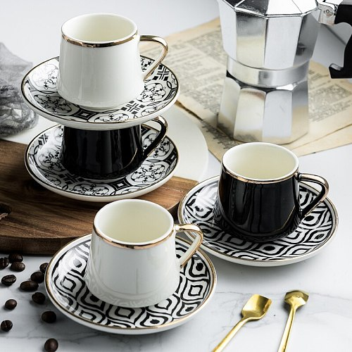 80ml Turkish ceramic coffee cup with saucer set for black tea, coffee, kitchen, party, beverage and home decoration