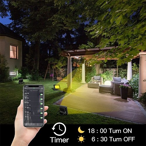 20W WiFi RGB APP Smart LED Flood Lights US Plug Outdoor LED FloodLight Spotlight Wall Stage Light For Party Garden 2pcs