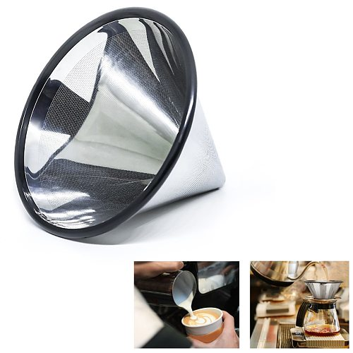Coffee Filter Home Strainer Holder Kitchen Reusable Mesh Portable Funnel Dripper Cup Pour Over Stainless Steel Tea Tools
