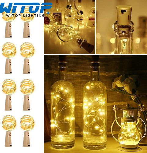 6Pcs/lot Cork Wine Bottle Light 2M 20LED DIY LED String Lighting Strip  For Garland Party Wedding Christmas Halloween Bar Decor