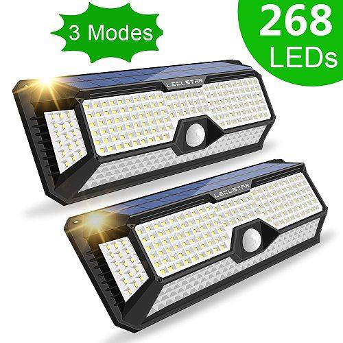 268 Led Solar Light Outdoor 3 Modes Sunlight Powered Waterproof Wall Lamp With PIR Motion Sensor For Street Garden Decoration