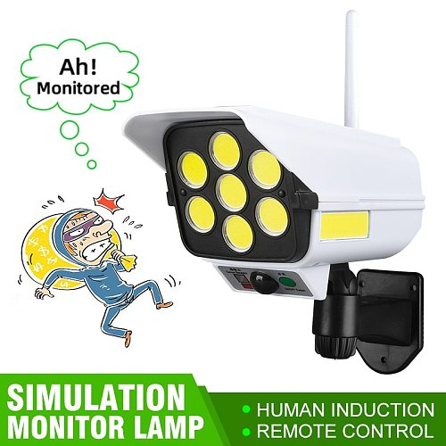 Remote Control Solar Projector Lamp Simulation Monitor Spotlight Courtyard Body Induction Flood-light Outdoor Lighting