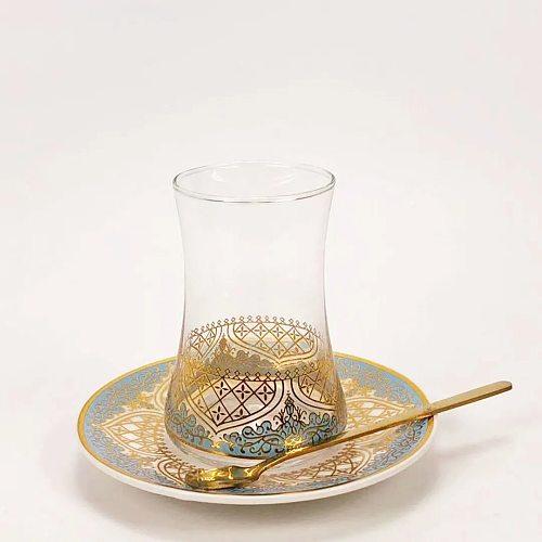 Turkish Flower Tea Glass Coffee Cup and Saucer Set