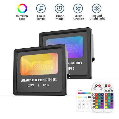 Smart RGB LED Floodlight 24W Bluetooth APP Control Outdoor Smart Flood Light IP66 Waterproof Garden Spotlight Stage Lighting