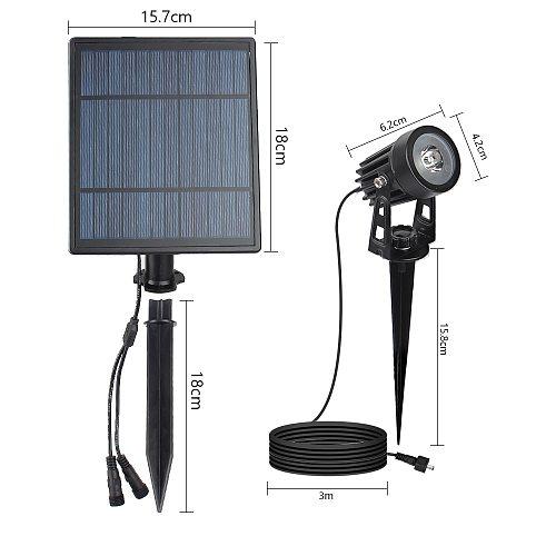 2W Solar Panel 2 Lamps Split Extendable outdoor Green spotlight ip65 grade Garden landscape waterproof solar light