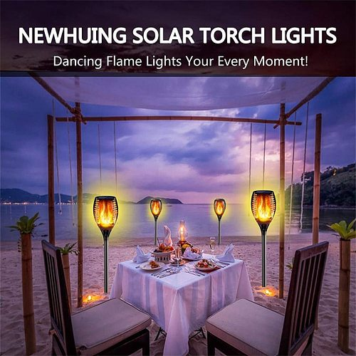 33/96 LED Solar Flame Lamp Outdoor Torch Lights Safety Waterproof Light Flicker Lights for Garden Decoration Automatic On Dusk