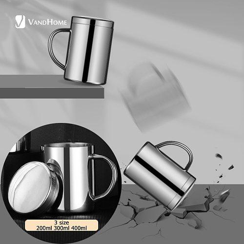 VandHome Coffee Cup Leak-proof Double Layer Coffee Mug 18/8 Stainless Steel Milk Tea Mug Water Cup With Lid Kitchen Drinkware