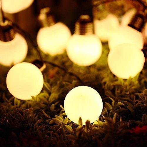 LED Solar Power Garden Bulb Ball Fairy Christmas Lights String Festoon New Year's Garland Outdoor Waterproof Party Decoration