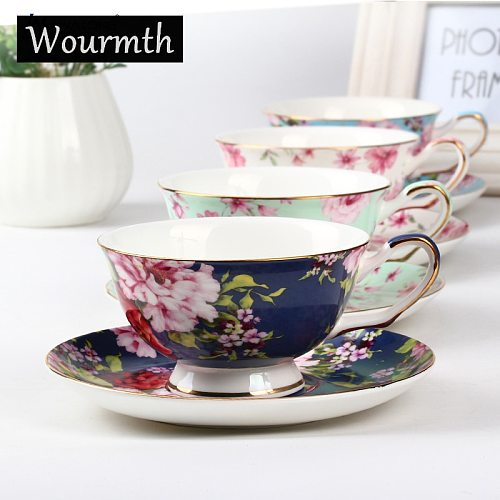 Wourth. Noble Luxury Bone China Coffee Cup And   Saucer Spoon Set  Ceramic 200ml Advanced Common Peony Porcelain Tea Cup Tray Fo